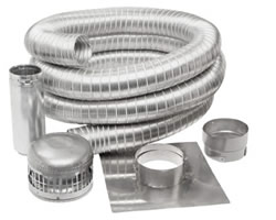 7″ DIA 25 FOOT KIT – CAP, TOP PLATE, FLEX PIPE , SLEEVE CONNECTOR