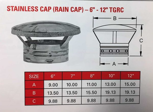 """Rain Cap Stainless Only 6"""""""