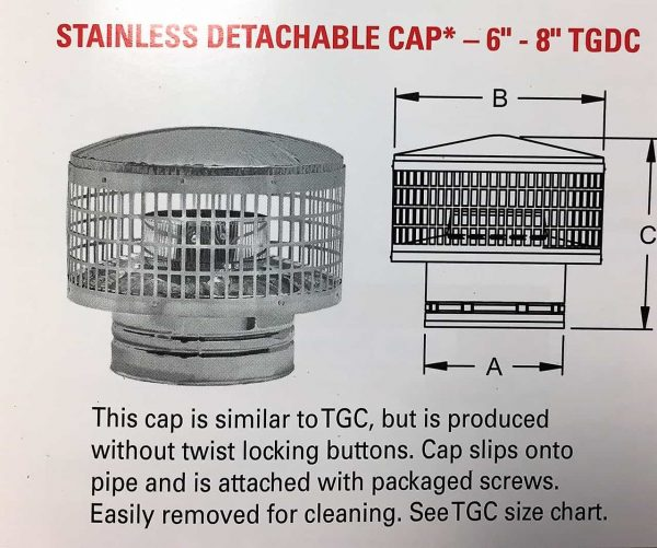 """Detachable Cap Stainless Only 8"""""""